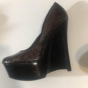 Maroon snake skin wedge heel